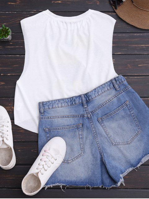 lady High Low Cute Print Tank Top - WHITE S Mobile