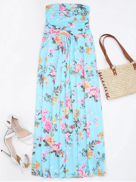 hot Ruched Floral Maxi Tube Dress With Pocket - FLORAL XL Mobile