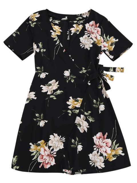 outfit Mini Floral Wrap Dress - FLORAL S Mobile