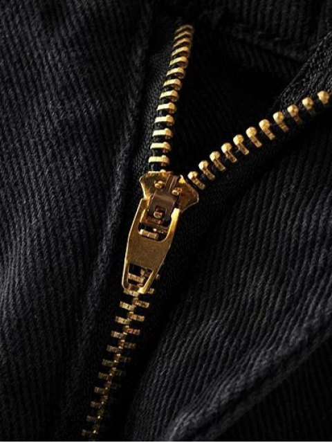 lady Cutoffs Rose Embroidered Denim Skirt - BLACK S Mobile
