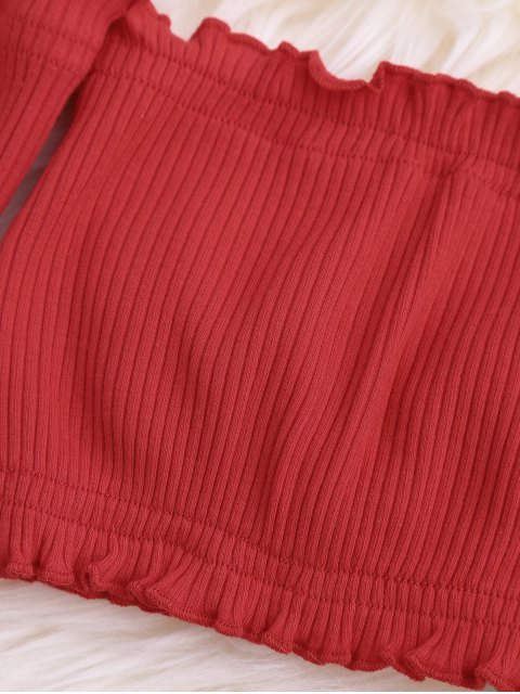 womens Frilled Off The Shoulder Crop Top - RED ONE SIZE Mobile