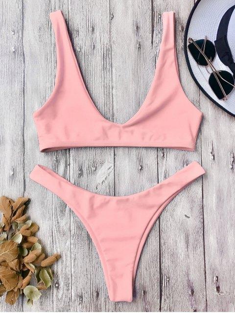 fancy High Cut Scoop Bikini Set - PINK M Mobile