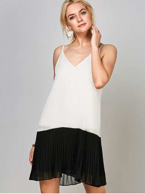 fancy Open Back Chiffon Pleated Slip Dress - WHITE AND BLACK 2XL Mobile