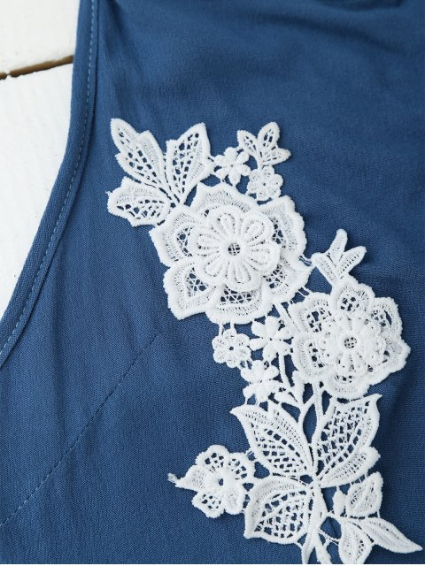 ladies Lace Floral Halter Crop Top and Shorts - BLUE L Mobile