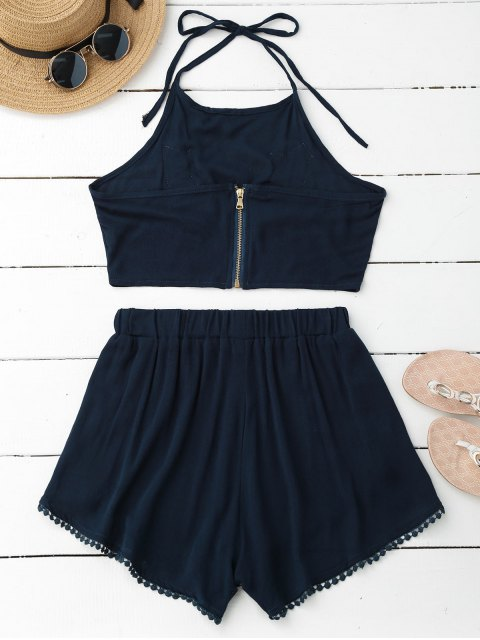 online Lace Floral Halter Crop Top and Shorts - PEARL INDIGO BLUE L Mobile