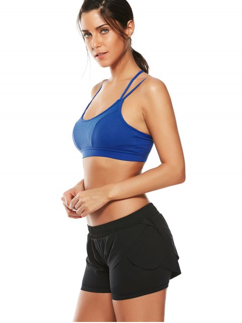 ladies Strappy Workout Padded Bra - BLUE M Mobile