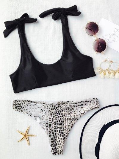 Dessous Et Bas De Bikini Croc D'épaule - Noir S