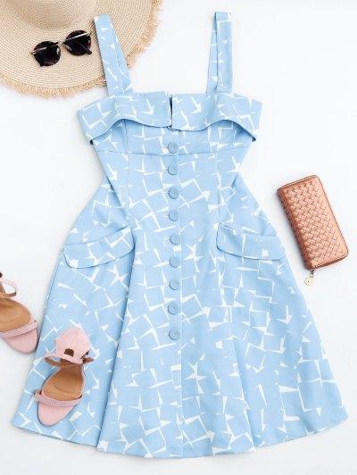 Bottun Up Geometric A-Line Dress - Light Blue