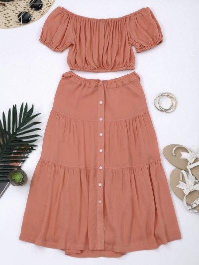Cropped Off Shoulder Top And Buttun Up A-Line Skirt - Orangepink
