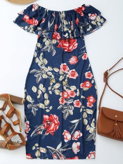 Off Shoulder Ruffle Floral Sheath Dress - Floral