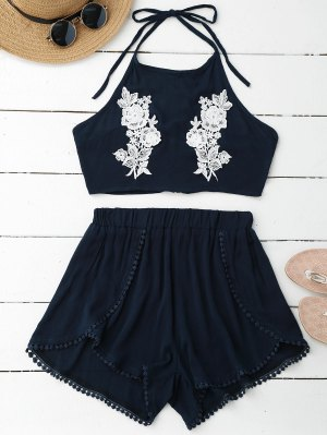 Lace Floral Halter Crop Top And Shorts - Pearl Indigo Blue