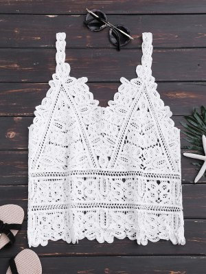 Hollow Out Lace Beach Tank Top - White