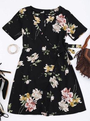 Mini Floral Wrap Dress - Floral