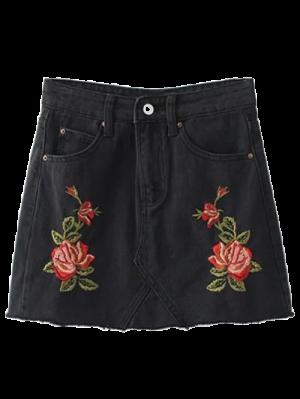 Cutoffs Rose Embroidered Denim Skirt - Black
