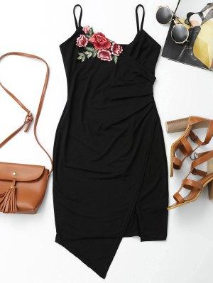 Floral Patched Asymmetrical Surplice Dress - Black