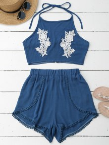 Lace Floral Halter Crop Top And Shorts - Blue