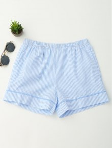 Elastic Waist Pockets Striped Shorts