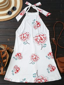 Halter Floral Open Back Dress - White S
