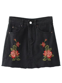 Cutoffs Rose Embroidered Denim Skirt