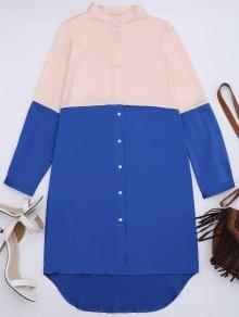 Two Tone High Low Shirt Dress - Blue