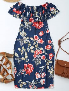 Off Shoulder Ruffle Floral Sheath Dress