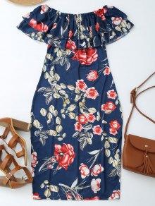 Vestido De Vaina Con Estampado De Flores Con Hombros Al Aire Con Volantes - Floral L