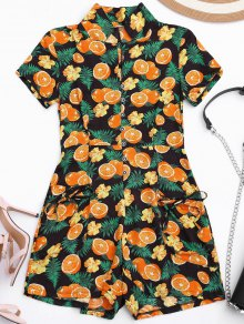 Orange Print Buttoned Romper With Pockets - Xl