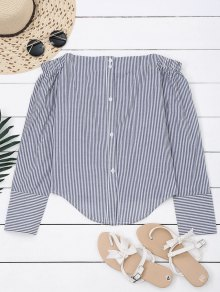 Bow Tied Striped Off Shoulder Shirt
