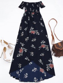 Off Shoulder Floral Shirred Asymmetric Maxi Dress - Cadetblue L