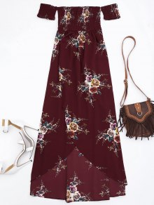 Slit Floral Shirred Waist Maxi Tube Dress - Burgundy M
