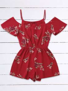 Cold Shoulder Floral Cami Playsuit - Red S