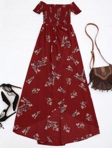 Off Shoulder Floral Shirred Asymmetric Maxi Dress