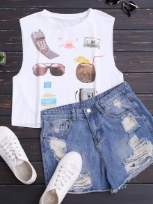 Cotton Vintage Print Tank Top
