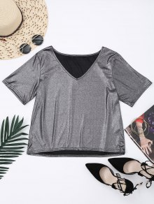 V Neck Shiny Top - Silver S