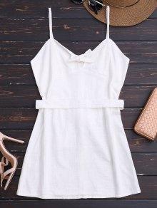 Slip Bowknot Belted Mini Dress - White