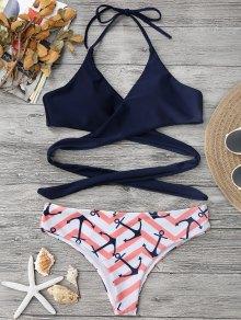 Zig Zag Anchor Wrap Bikini - Pink S