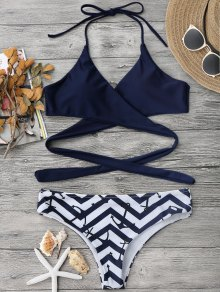 Zig Zag Anchor Wrap Bikini - Purplish Blue M