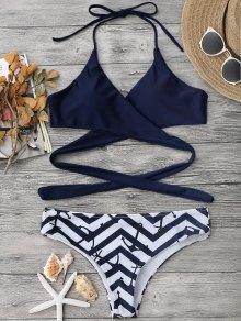 Bikini En Zigzag à Bretelle Américaine à Lacet - Bleu Violet S