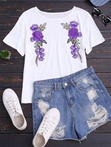 القطن الأزهار مصحح تي شيرت - أبيض L