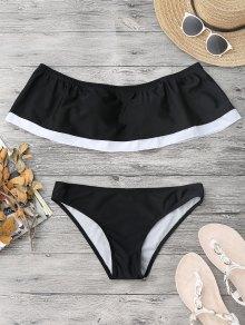 Bloque De Color Superposición De Bikini De Hombro - Negro L