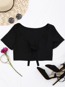 Ribbed Bowknot Cut Out Cropped Top - Black M