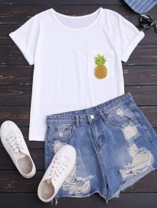 Pineapple Cotton T-Shirt With Pocket - White S