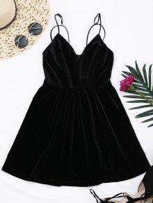 Criss Cross Strappy Slip Velvet Dress - Black