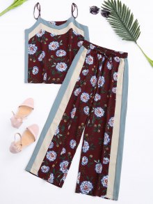 Floral Tank Top And Pants With Stripe - Wine Red