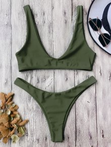 High Cut Scoop Bikini Set - Army Green
