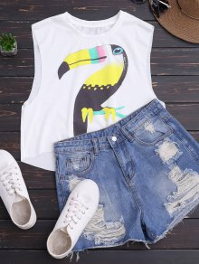 High Low Cute Print Tank Top - White M