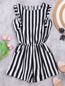 Sleeveless Striped Romper With Pockets