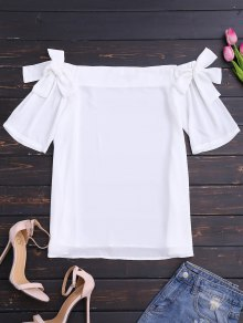 Bowknot Chiffon Off Shoulder Top