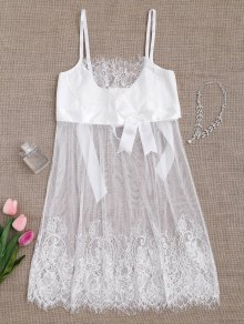 Mesh Bowknot Lace Babydoll With Thong Panties - White