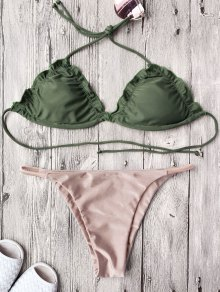 Frilled Padded String Bikini Set - Pink
